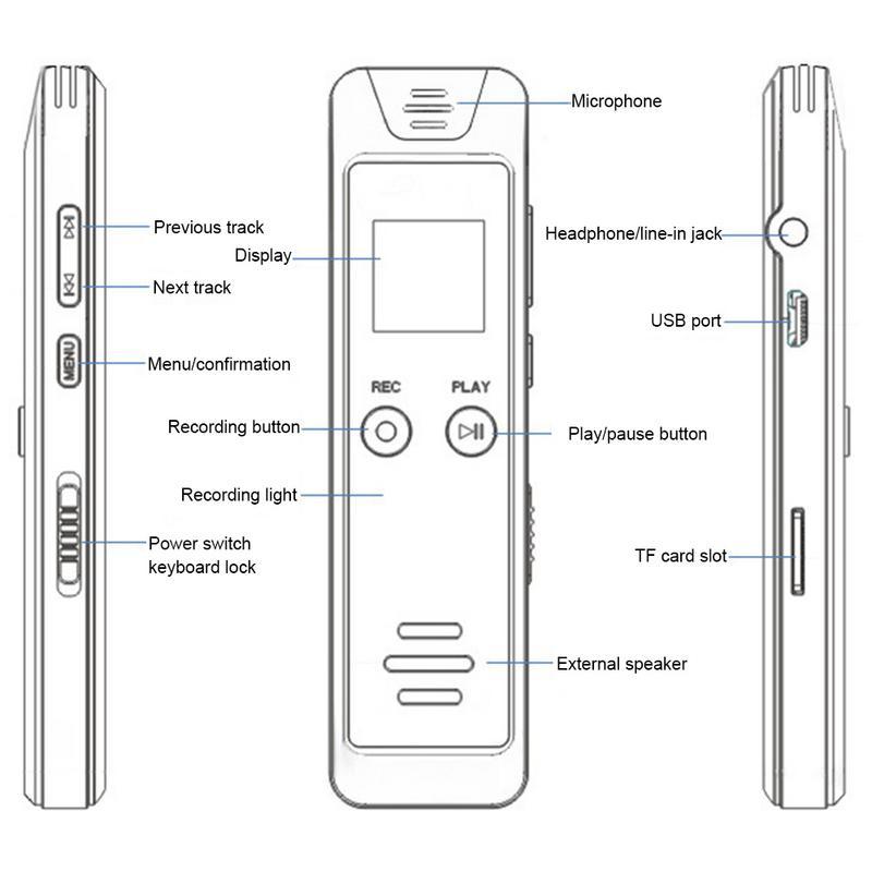 16 GB stylo d'enregistrement à distance HD réduction automatique du bruit FM MP3 enregistreur Audio enregistreur vocal Dictaphone WAV MP3 FM lecteur - 6