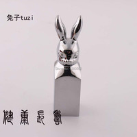 Chrome Plated Top Quality Chinese Style Rabbit Chinese Word Seal Stamps Wedding Decoration Metal Crafts