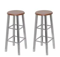 VidaXL барные стулья 2 шт. металлические с MDF сиденье для дома классический барный стул Твердые барные стулья кафе стул для дома кухня ресторан