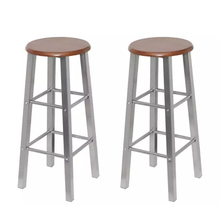 VidaXL Bar Stools 2 Pcs Metal With MDF Seat Home Classic Bar Chair Solid Bar Stools Cafe Chair For Home Kitchen Restaurant