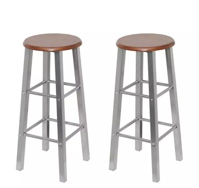 VidaXL tabourets de Bar 2 pièces métal avec siège MDF maison classique chaise de Bar solide tabourets de Bar chaise de café pour maison cuisine Restaurant V3
