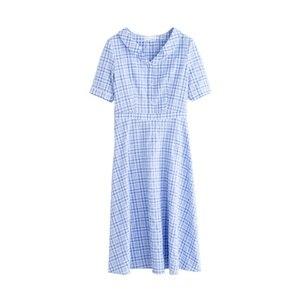 Image 5 - אינמן קיץ כחול לבן משובץ ספרותי צעיר ילדה רזה אונליין להנמיך צווארון נשים שמלה