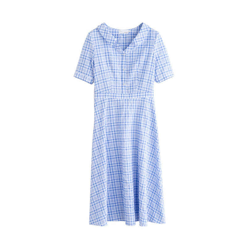INMAN été bleu-blanc Plaid littéraire jeune fille mince a-ligne col rabattu femmes robe
