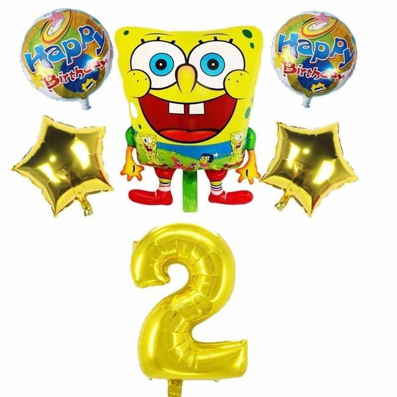 6 pçs/lote Bob Esponja Calça Quadrada E 40 polegada Número Foil Birthday Party Balloons Decoração Suprimentos Dia Dos Miúdos das Crianças do Miúdo brinquedo