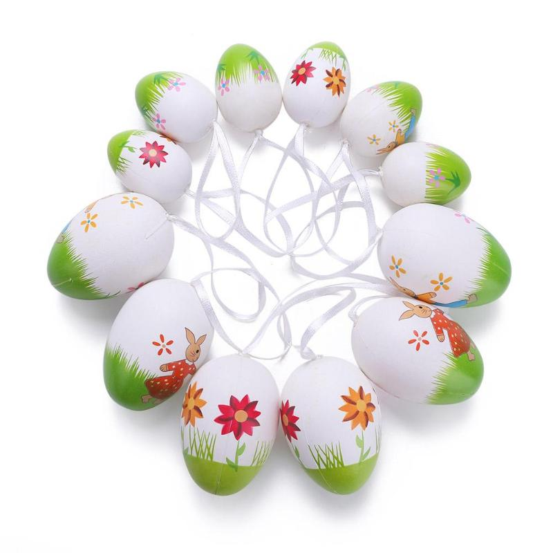 12/18/20pcs Easter Hand Painted Eggs Easter Toys Kids DIY Pendants Party Decorative Hand Craft Eggs Gift For Kid Random Color