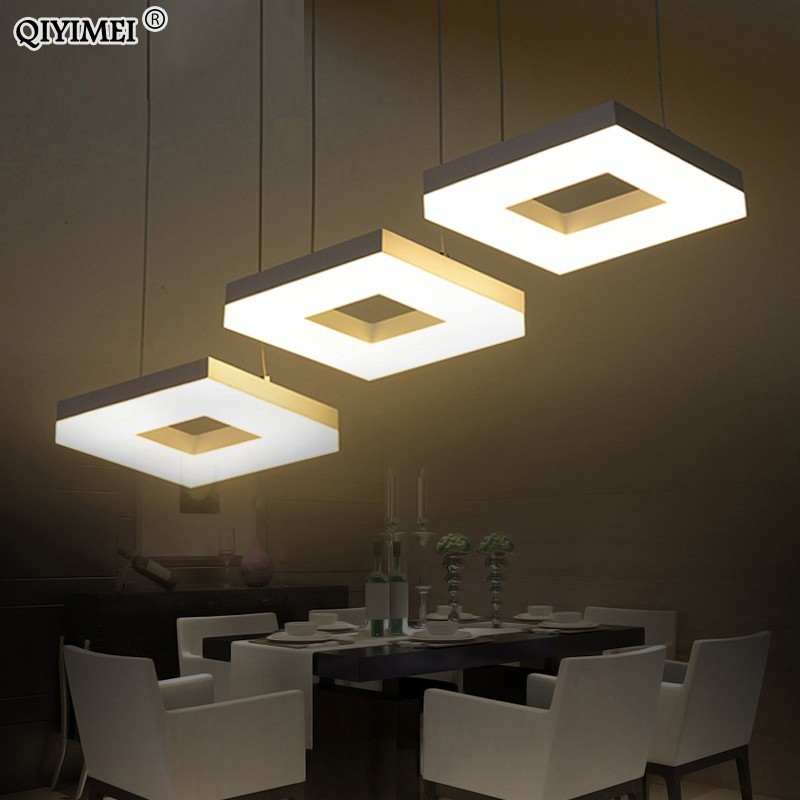 Modern led pendant lights for dining room living room Acrylic Aluminum Rectangle led pendant lamp fixtures AC85 265V|Pendant Lights| |  - title=