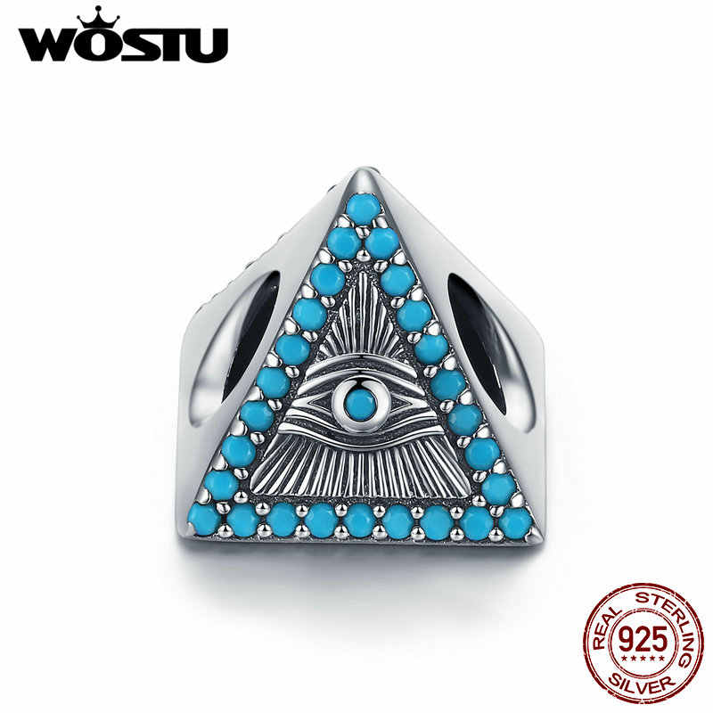 WOSTU 925 Sterling Silver Magic Eye Blue Zircon Beads Fit Charm Bracelet Bangle Necklace Pendant For Women Party Jewelry CQC1093