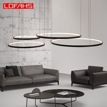 LOFAHS Modern LED Chandelier pendant lamp fixture aluminum ring suspension luminaire led Chandeliers lighting Lustre modern clear waterford spiral sphere led lustre crystal chandelier ceiling lamp suspension pendant lamp home lighting luminaire