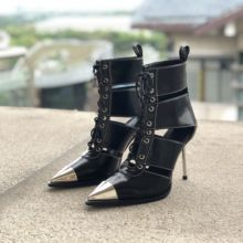 Top Quality Black Leather Women Chelsea Boots Lace-up Metal Pointed Toe Cut-out Ridding Boots High Stiletto Gladiator Heels Boot new fashion women pointed toe black suede leather lace up gladiator boots cut out super high heel ankle boots free shipping
