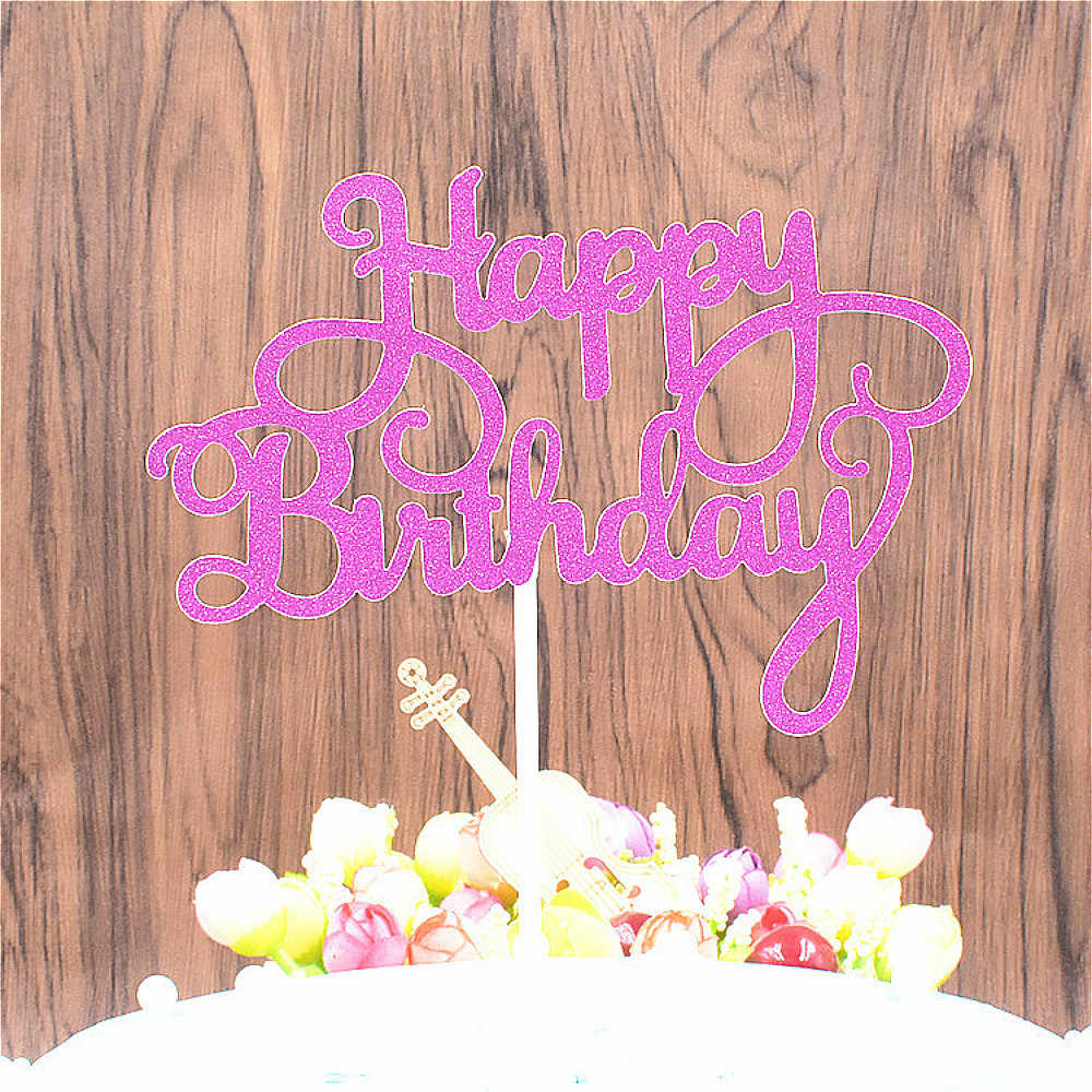 BRIDAY 1Pcs Shining Happy Birthday Cake Topper for a Cake Gold Gillter Cake Flag for Family Birthday Party Baking@1