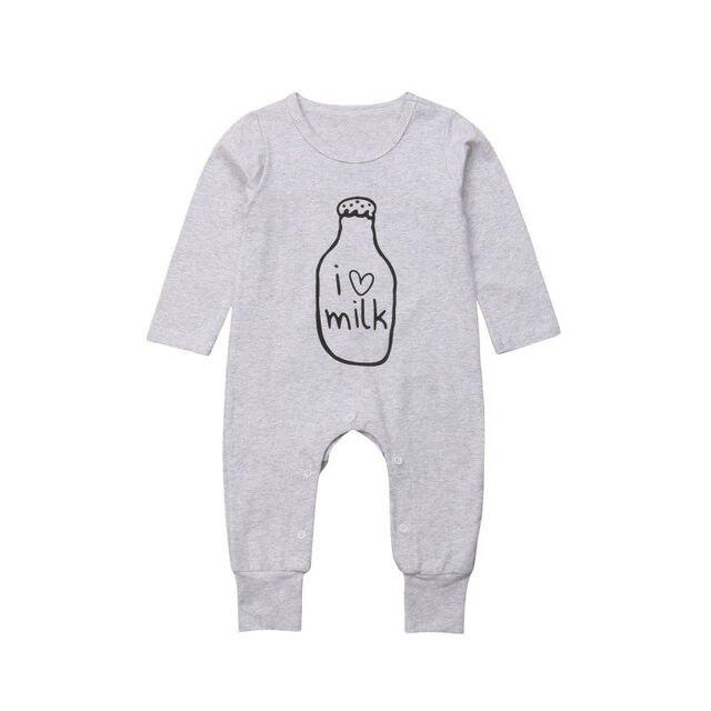 a4cee8f187ae Casual Newborn Baby Boy Girl Love Milk Long Sleeve Cotton Romper ...