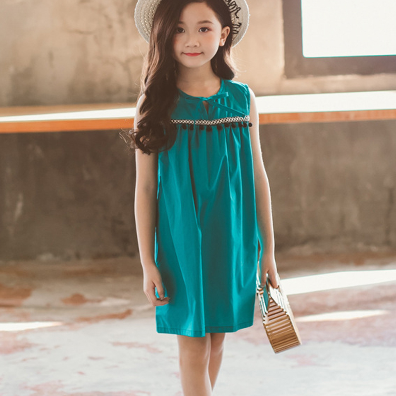 Girls summer sleeveless cotton evening dress 2019 children's clothing youth age 6 8 10 12 14 years old children's clothing