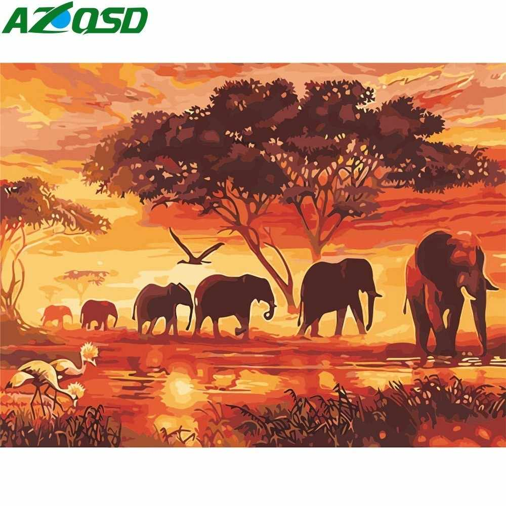 AZQSD DIY Oil Painting By Number Frameless Elephant Animal Wall Art Picture Paint By Number Canvas Painting For Home Decoration