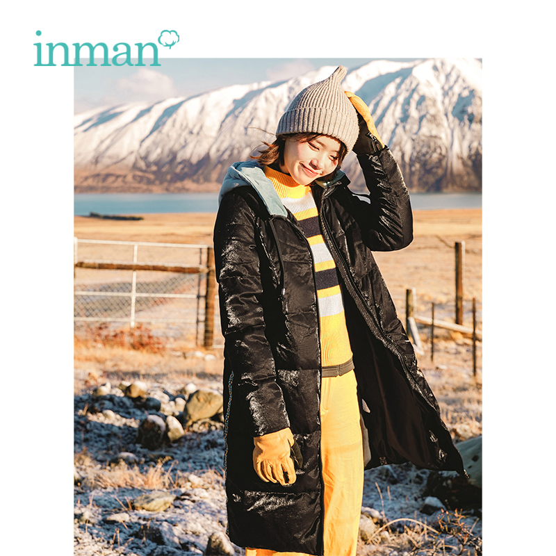INMAN Winter New Arrival Hooded Warm Windproof Loose Long Section Woman   Down     Coat