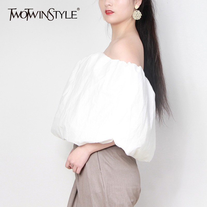 TWOTWINSTYLE Sexy Off Shoulder Women Shirt Slash Neck Puff Sleeve Loose Oversize Strapless Blouse Female Summer