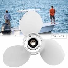 Barco fuera de borda de la hélice 683-45941-00-EL 9 1/4×12 para Yamaha 9,9-15HP de aluminio de 8 Spline dientes de 235mm de diámetro blanco de 3 hojas