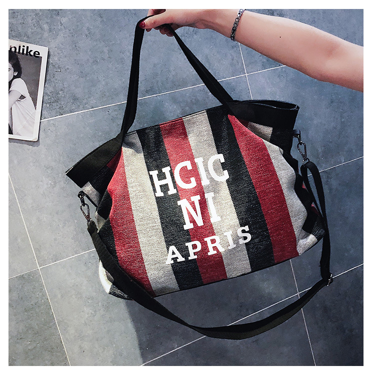 Zipper Letter Shoulder Bags Canvas Handbags Large Handbags Bucket Tote Messenger Bags