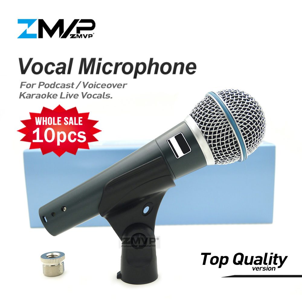 10pcs Top Quality Version Super cardioid BETA58 Live Vocals Karaoke Dynamic 58A Wired Microphone Podcast Microfone