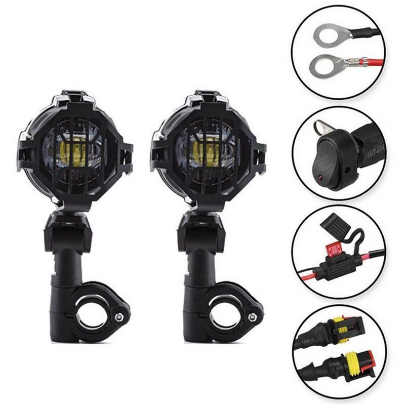 1 Set DC10V-24V Universal Motorcycle LED Auxiliary Fog Light Assemblie Driving Lamp 40W Headlight For BMW R1200GS/ ADV/ F800GS