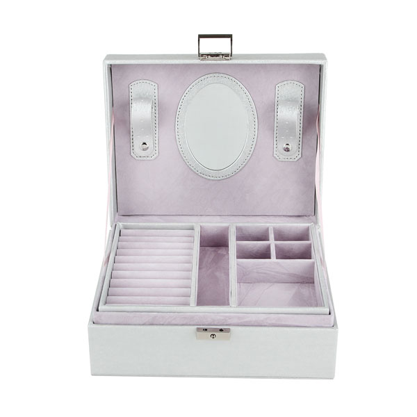 New 23 9 18 5Cm Double Layer Portable Jewelry Case Leather Jewelry Box Organizer Princess Dressing Birthday Gift in Jewelry Packaging Display from Jewelry Accessories