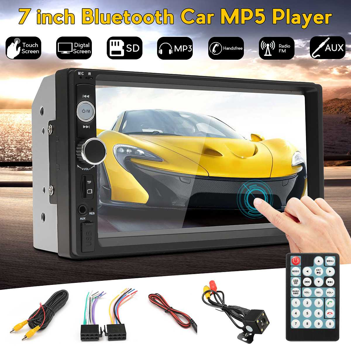 7 inch 2 Din bluetooth Touchscreen Car MP5 Player AUX/USB/FM Radio Multimedia Video Audio Stereo Autoradio + Rear View Camera7 inch 2 Din bluetooth Touchscreen Car MP5 Player AUX/USB/FM Radio Multimedia Video Audio Stereo Autoradio + Rear View Camera
