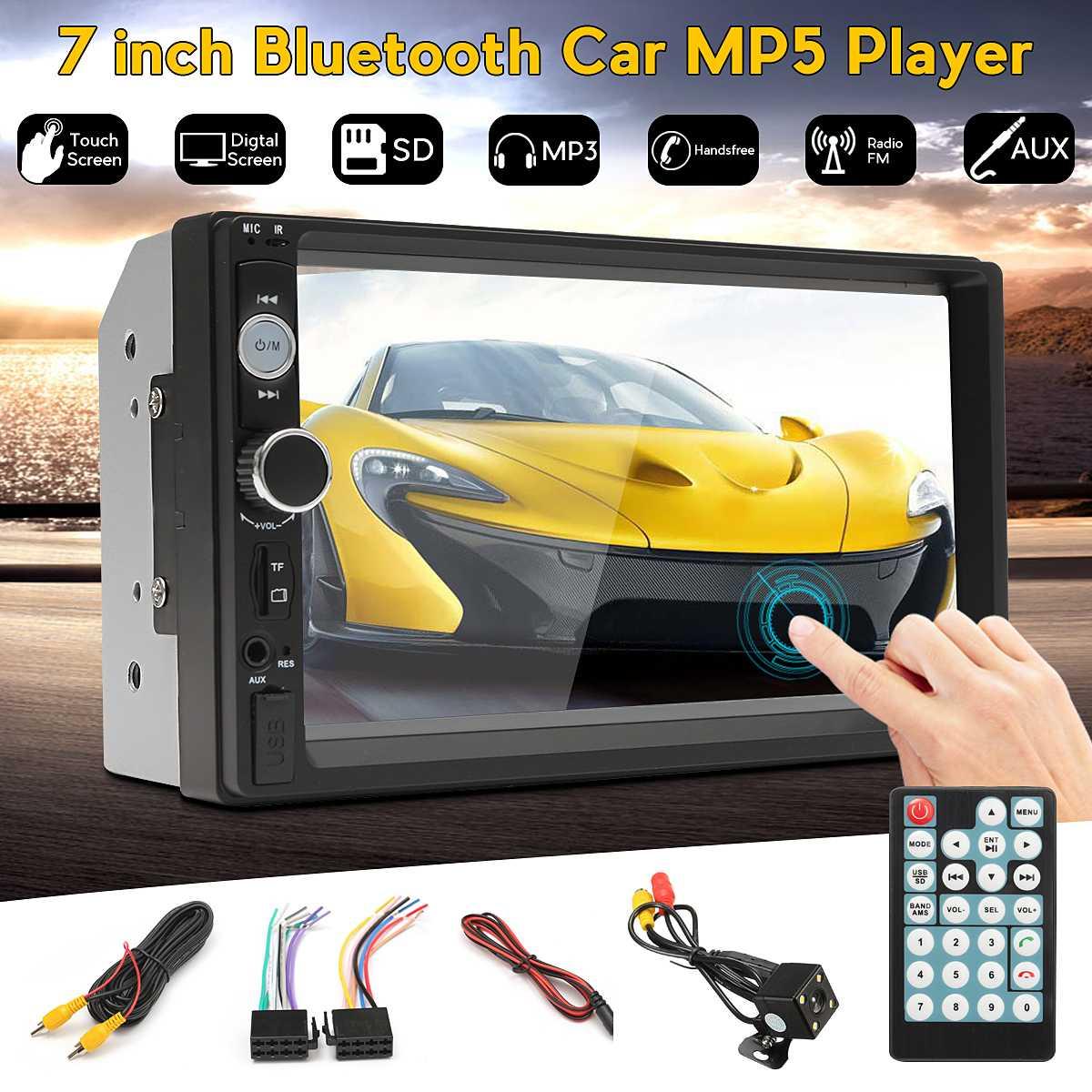 7 pouces 2 Din bluetooth écran tactile voiture MP5 lecteur AUX/USB/FM Radio multimédia vidéo Audio stéréo Autoradio + caméra de recul