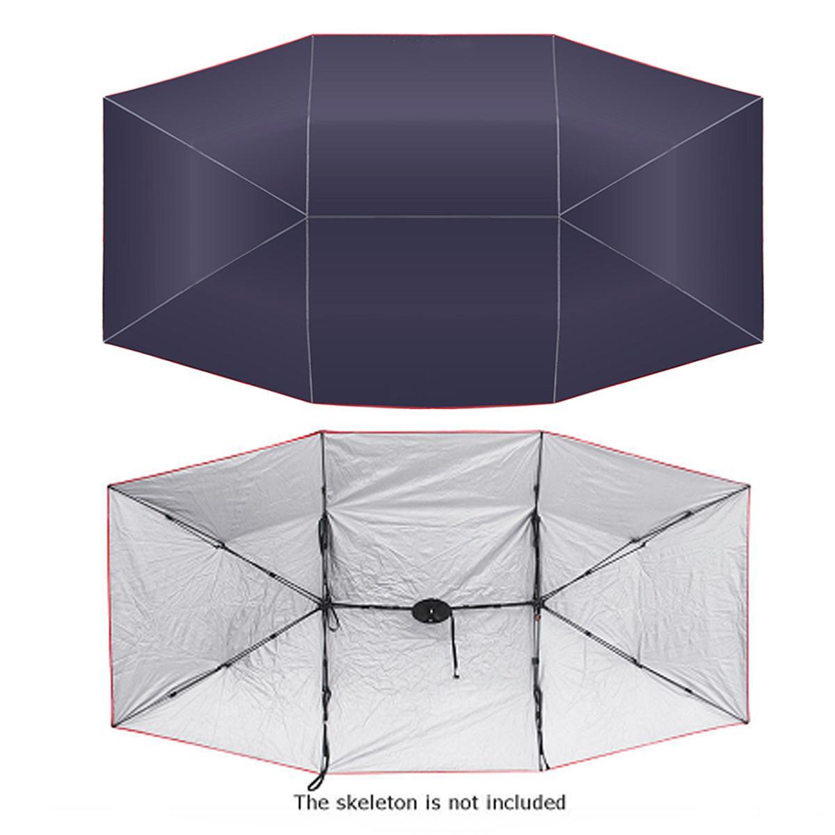 Voiture parapluie soleil ombre couverture extérieure voiture véhicule tente Oxford tissu Polyester couvre 400x210 cm bleu/argent sans support - 3