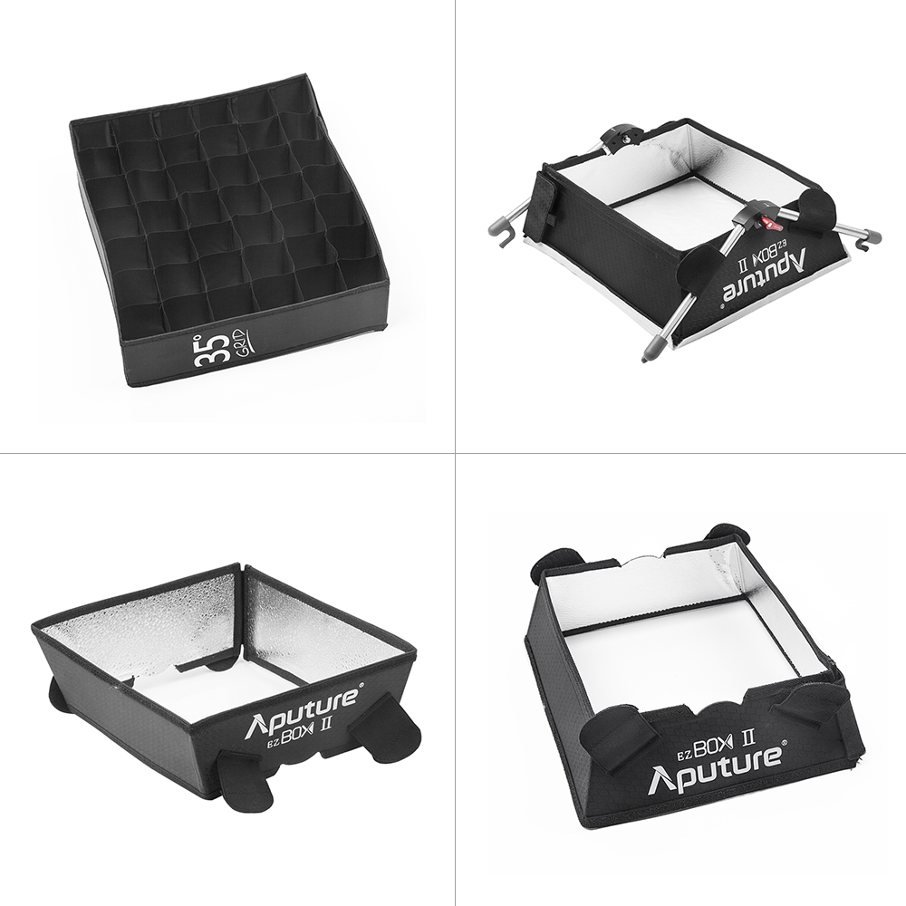 Aputure EZ Box II Portable Studio Photography Softbox Kit with Diffuser Cloth Fabric Grid for Amaran