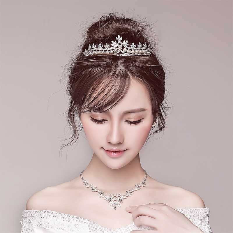 3pcs/set Rhinestone Tiara Necklace Earrings Jewelry Set Simulated Pearl Princess Bridal Wedding Headpiece Ornament Engagement
