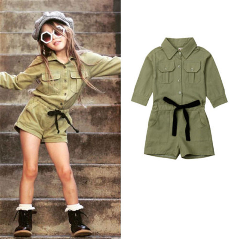 Emmababy Toddler Kids Baby Girls Long Sleeve Rompers Fashion Comfort Army Green Girls Outfits Clothes Dropship