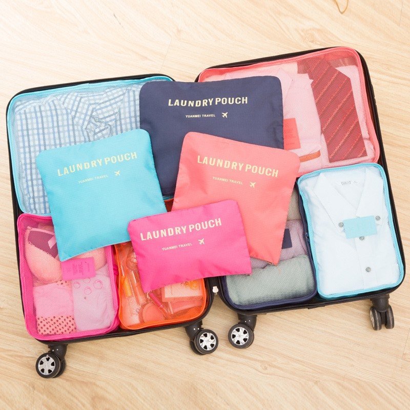 Waterproof Travel Bags 6pcs/Set Packing Cubes Nylon Carry On Luggage Unisex Clothing Sorting Organizer With Shoe