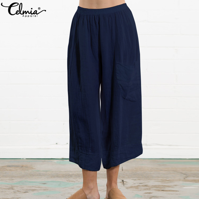 Celmia 2019 Summer Vintage Trouser Women Elastic Waist Harem Pants Pockets Casual Loose Pleated Wide Leg Pant Plus Size Palazzon
