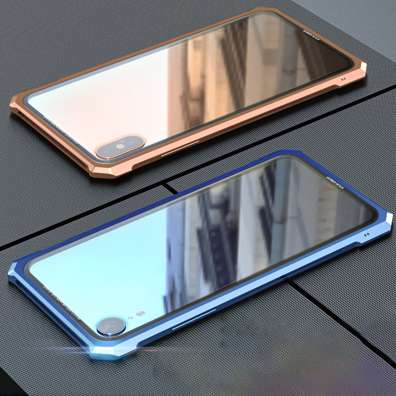 Clear Phone Case For iphone X XR XS Max Luxury Metal Bumper+Tempered Glass Back Case Cover Coque Capa For iPhone 7 8 plus Fundas