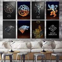 Логотип GOT Targaryen Stark Lannister house, домашний декор для гостиной, спальни, постер с принтом, картина, настенная живопись, холст, 2019