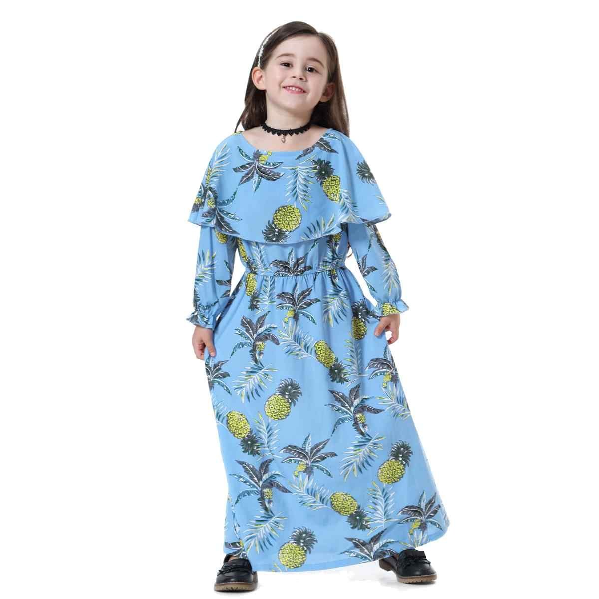 Модное мусульманское детское длинное школьное платье для девочек с принтом, кимоно, милый Юба, Ближний Восток, Арабский исламский наряд, праздничные платья