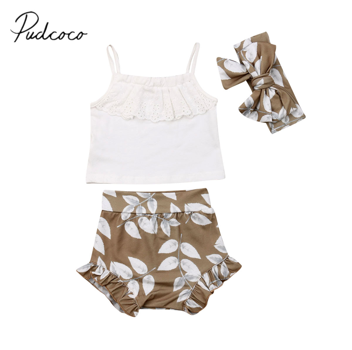 d7dd5d9c46c 2019 Baby Summer Clothing 0-24M Newborn Infant Baby Girls Clothes 3pcs Sets  Lace Vest