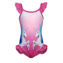 AmzBarley Cartoon Unicorn baby swimwear One Piece Girls Swimsuit Ruffle Sleeve kids swimwear toddler Beach Suit for girls girls unicorn print ruffle trim swimsuit