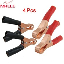 hot 2 Pair Copper Plated Insulated Car cable Battery Clips Alligator clip clamp Clamps 50A Red Black diy kit test leads pair silver auto car aluminum magnesium battery terminal clamp clips connector