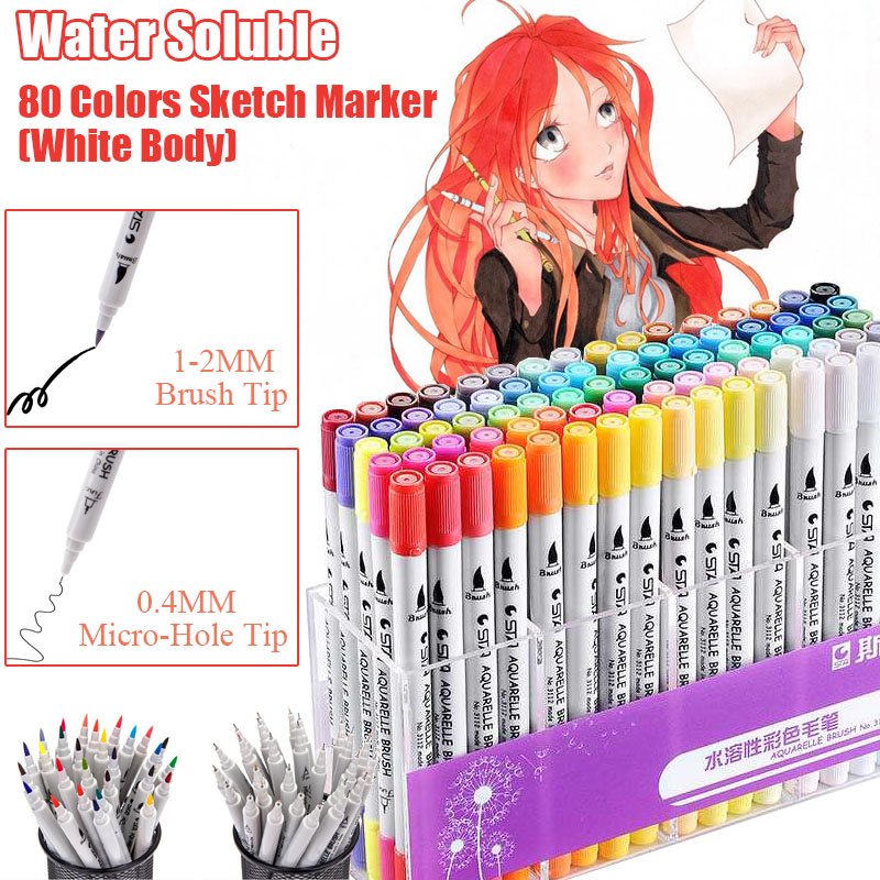 STA 80 Colors White Water Soluble Art Markers Artist Double Head Sketch Marker Brush Pen For Drawing Design School Art SuppliesSTA 80 Colors White Water Soluble Art Markers Artist Double Head Sketch Marker Brush Pen For Drawing Design School Art Supplies