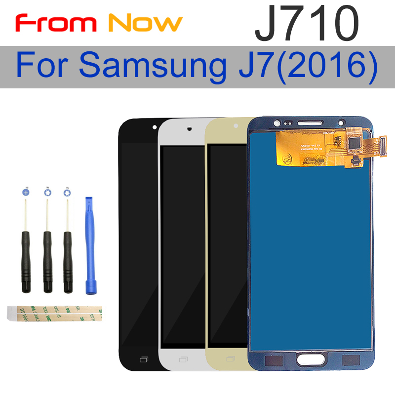 Für Samsung Galaxy J7 2016 J710FN <font><b>J710F</b></font> J710M J710 <font><b>LCD</b></font> Display Touchscreen Digitizer Helligkeit Einstellbar Montage image