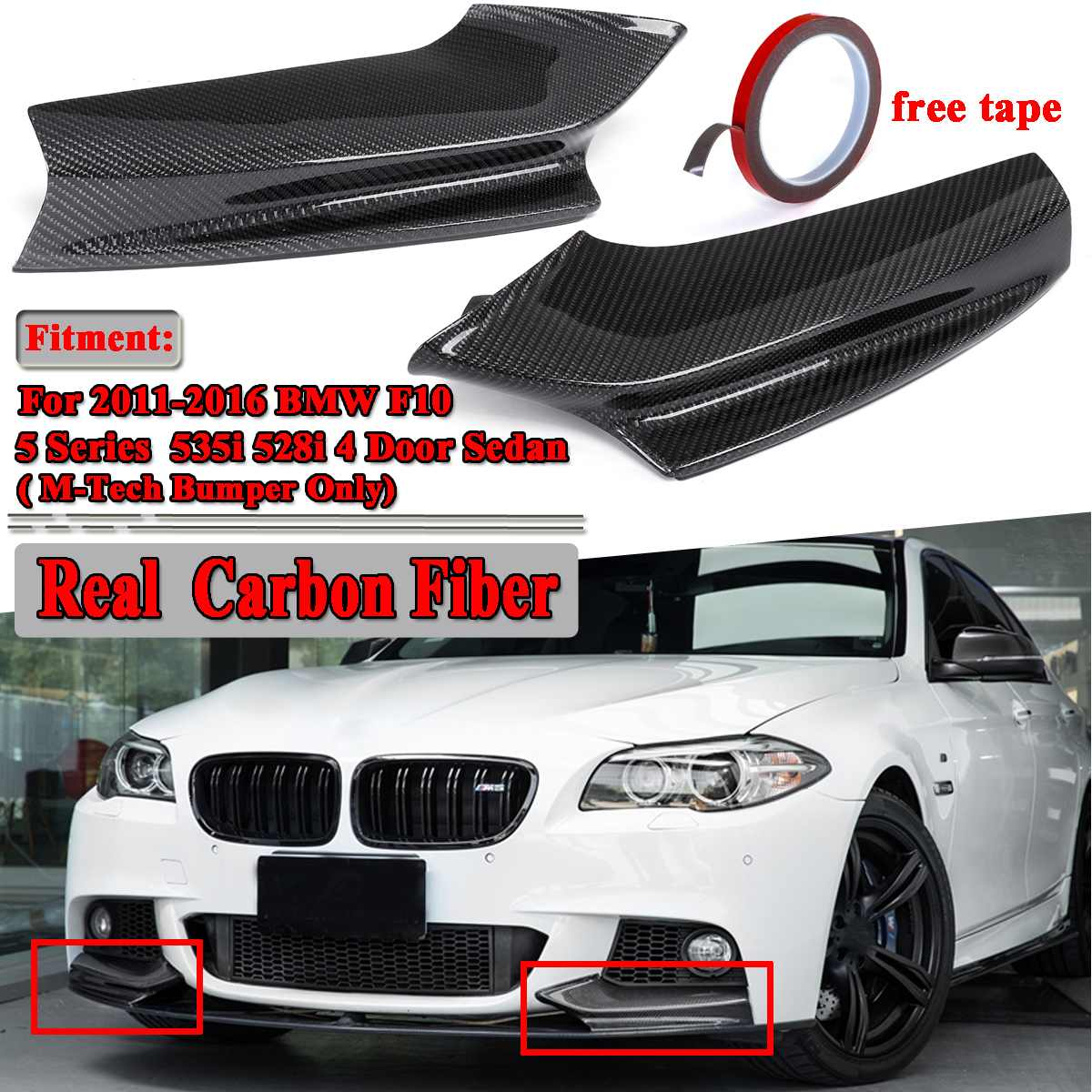 A Pair Real Carbon Fiber <font><b>F10</b></font> Car Front <font><b>Bumper</b></font> Splitter Lip Deflector Spoiler Aprons For <font><b>BMW</b></font> <font><b>F10</b></font> 5 Series 535i 528i 4Dr 2011-2016 image