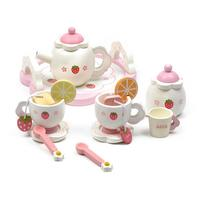 Children Wooden Tea Set+luxury box toy furniture toy dollhouse kitchen toys pink strawberry pretend play parent child games