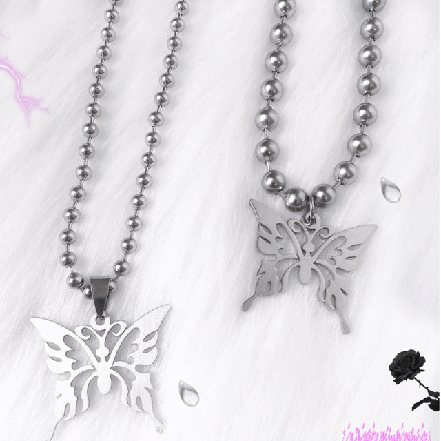 Sweet Butterfly Stainless Steel Necklace Women Polishing Chain Necklace