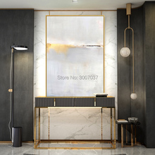 Special Oil Painting Artist Hand-painted High Quality golden Knife Thick Modern Abstract Grey gold