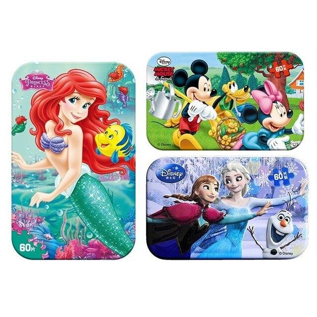 ขายร้อน Disney Frozen รถ Disney 60 ชิ้นเล็กชิ้นปริศนาของเล่นเด็กจิ๊กซอว์ไม้เด็กของเล่นเพื่อการศึกษาเด็ก