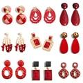 Flatfoosie 2019 Neue Harz Acryl Tropfen Baumeln Ohrringe Für Frauen Bohemian Geometrische Red Mode Anhänger Ohrring Hochzeit Schmuck