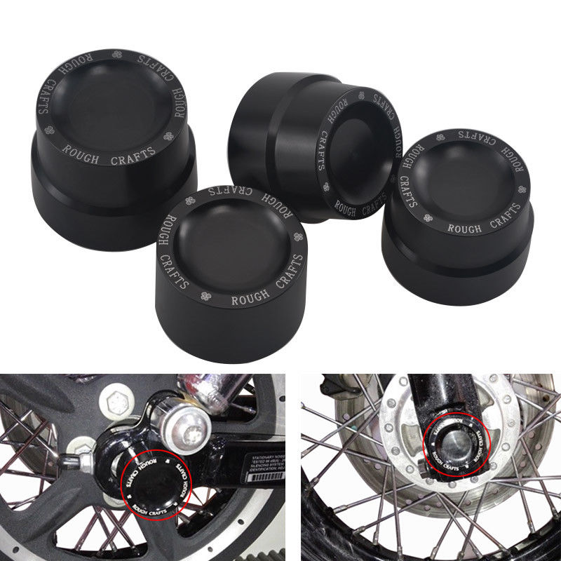 Black Aluminum Rough Craft Carving Front & Rear Axle Nut Covers Caps Fit For Harley Sportster XL883 XL1200 Dyna Touring V-Rod