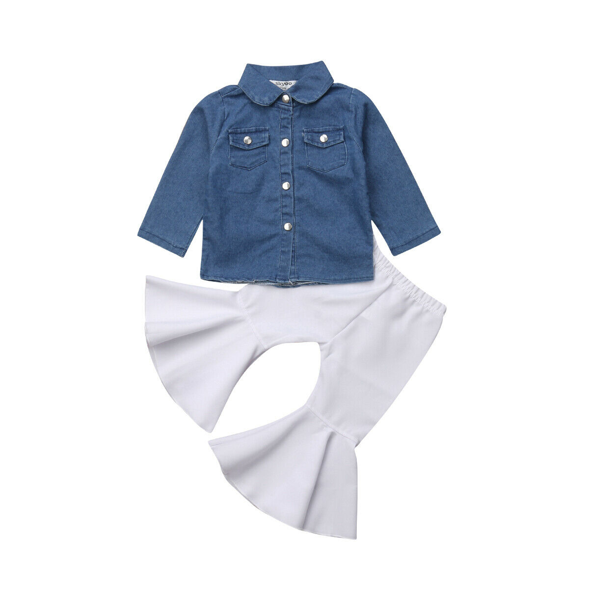 2PCS Toddler Kids Baby Girls Outfits Clothes Long Sleeve Shirt Tops+Jeans Pants