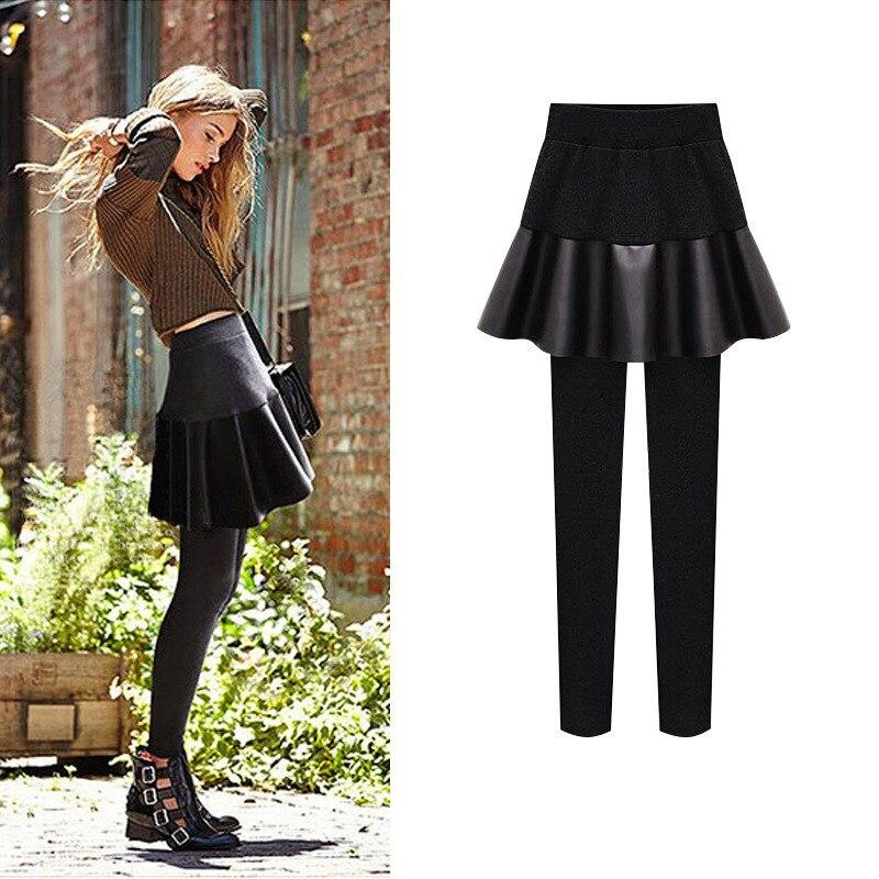 Winter Women PLus Size Fake Two Pieces PU Skirt Pencil   Pants   Velvet Elastic Waist Thick Fleece Keep Warm Trousers