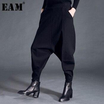 [EAM] 2019 חדש אביב אופנה גאות שחור גבוהה מותניים אלסטי כיסי טלאים מקרית אישה מלא אורך הרמון מכנסיים SA155
